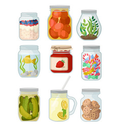 flat set of jars with different objects vector image