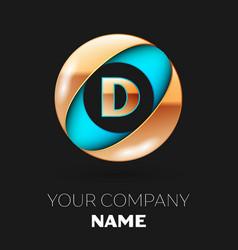 golden letter d logo symbol in blue-golden circle vector image