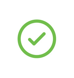green check mark icon in a circle tick symbol in vector image