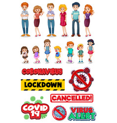 Group family member characters and covid sign vector