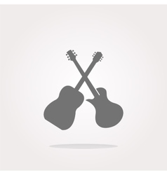 Guitar web icon button isolated on white vector image