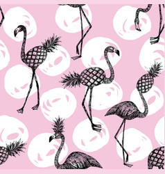 half flamingo and pineapple pink white background vector image