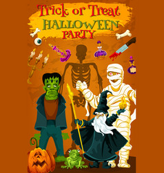 Halloween holiday horror monster party poster vector
