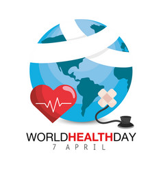Heartbeat with aid band to world health day vector