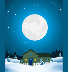 house in winter landscape vector image