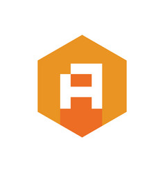 initial a logo icon with orange hexagon shape vector image