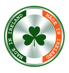 Irish sign with trefoil round hologram sign for vector