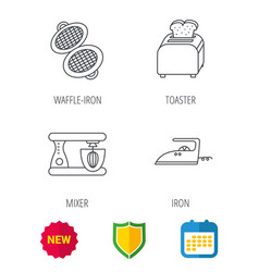 iron toaster and blender icons vector image