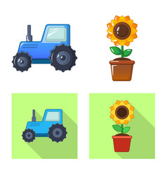 Isolated object of farm and agriculture sign set vector