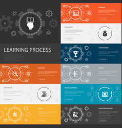 Learning process infographic 10 line icons banners vector