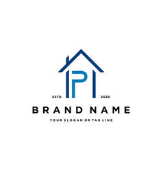 Letter p home design logo icon concept vector