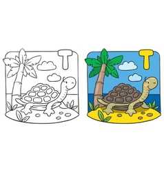 Little turtle coloring book Alphabet T vector image