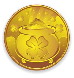lucky gold coin cartoon vector image