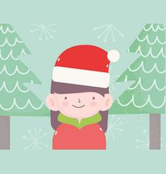 Merry christmas little girl with hat santa vector