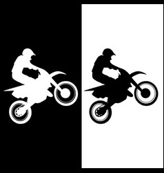 motocross rider and motorcycle silhouette vector image