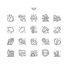 negative thinking well-crafted thin line icons vector image