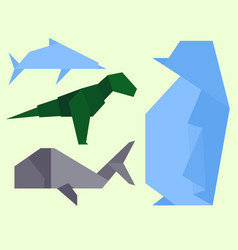 origami style of different animals vector image