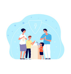 people washing hands child hygiene family vector image