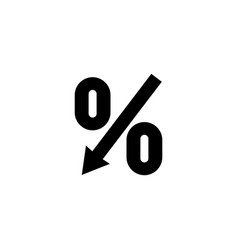 percent down arrow flat icon vector image