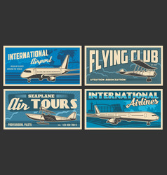 Plane and airport retro banners air travel vector