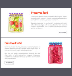 Preserved food posters set vector