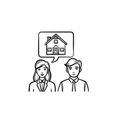 real estate consultation hand drawn outline doodle vector image