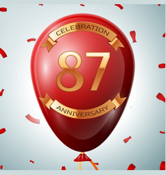 red balloon with golden inscription 87 years vector image