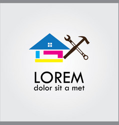 Repair house logo colourful vector