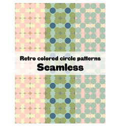 retro circle pattern set vector image