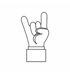 Rock and Roll hand sign icon outline style vector image