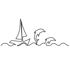 sailing boat one line drawing vector image