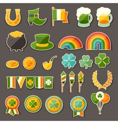 Saint Patricks Day sticker icons set vector