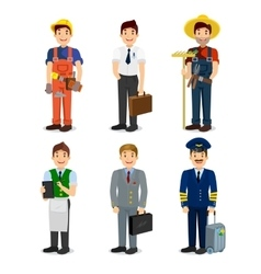 set colorful profession man flat style icons vector image