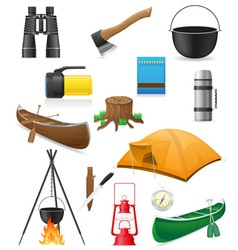 set icons items for outdoor recreation vector image