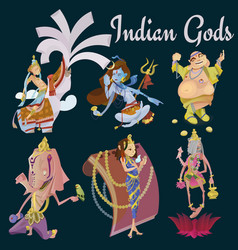 Set of isolated hindu gods meditation in yoga vector
