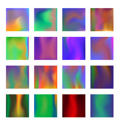 set of trendy holographic textures for cover vector image