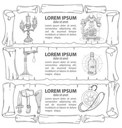 Set outline of banners imitating ancient papyrus vector