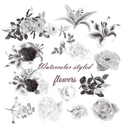 set realistic flowers for design vector image