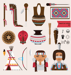 Set with native american indians houseware vector