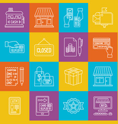 shopping and consumerism lineart minimal iconset vector image