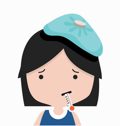 sick little girl with thermometer vector image