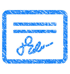 signed cheque grunge icon vector image