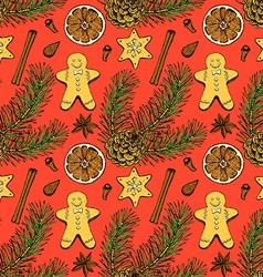 Sketch Christmas seamless pattern vector image