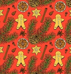 Sketch Christmas seamless pattern vector