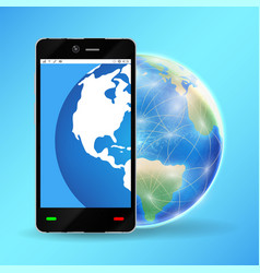 smartphone with planet earth world globe vector image