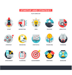 startup business icons start up strategy vector image