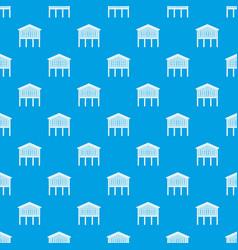 Stilt house pattern seamless blue vector