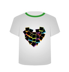 T Shirt Template- polaroid heart vector image