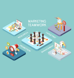 teamwork strategy isometric composition vector image