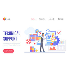 technical support flat landing page vector image